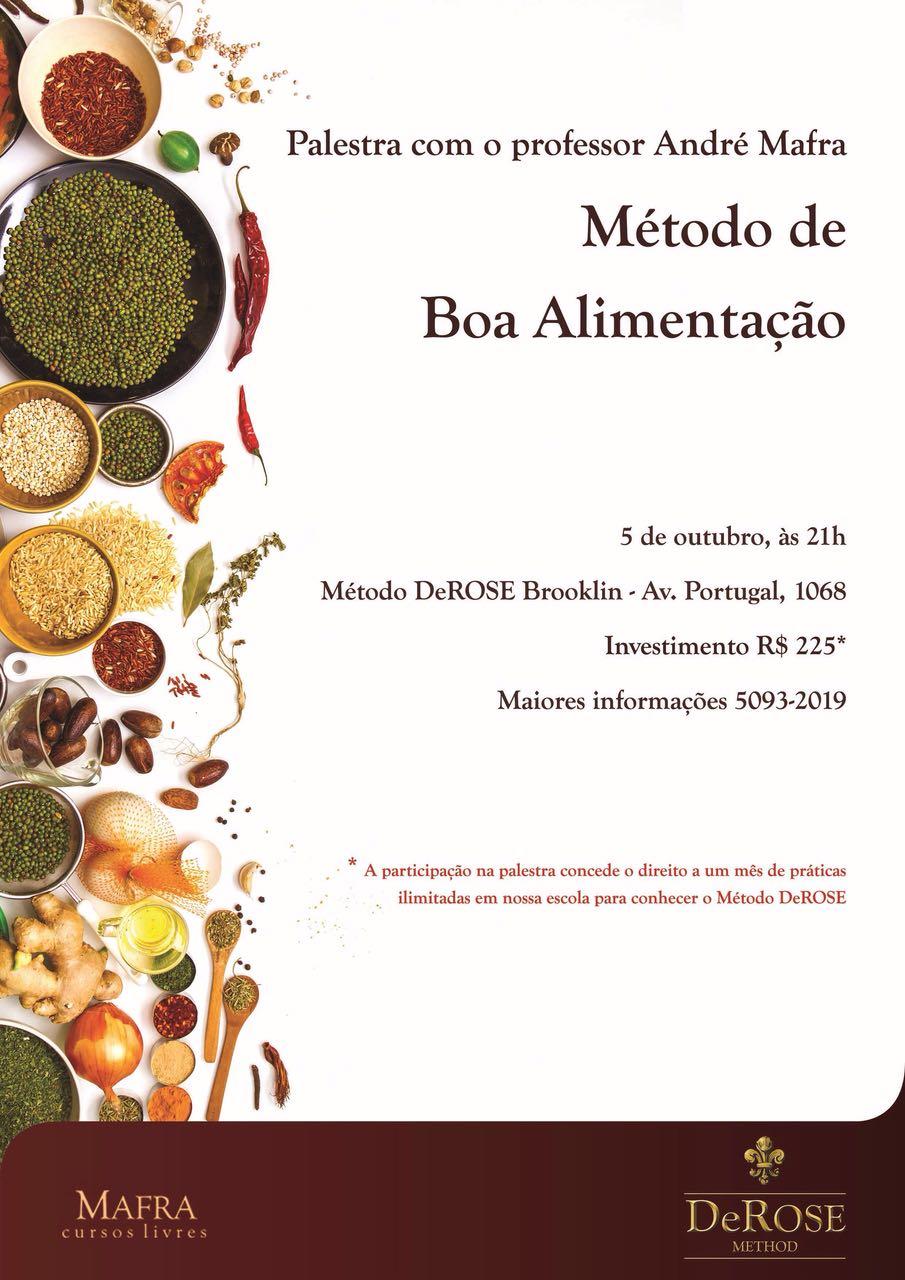 Palestra sobre Alimentação, dia 5 de outubro com prof. André Mafra