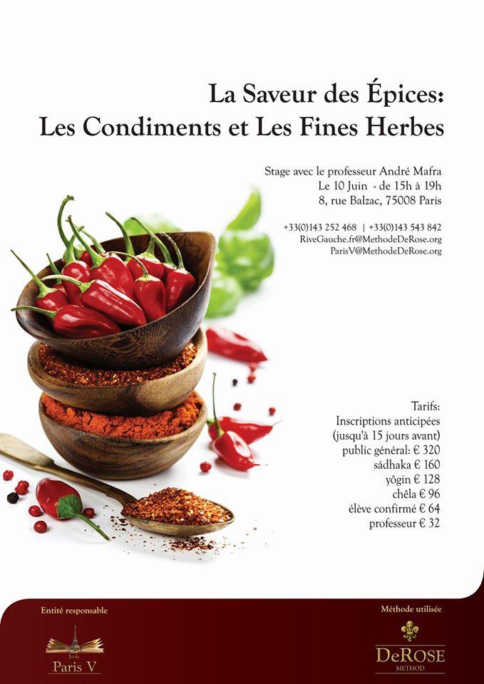 10 de junho em Paris tem o próximo Curso Sabor das Especiarias