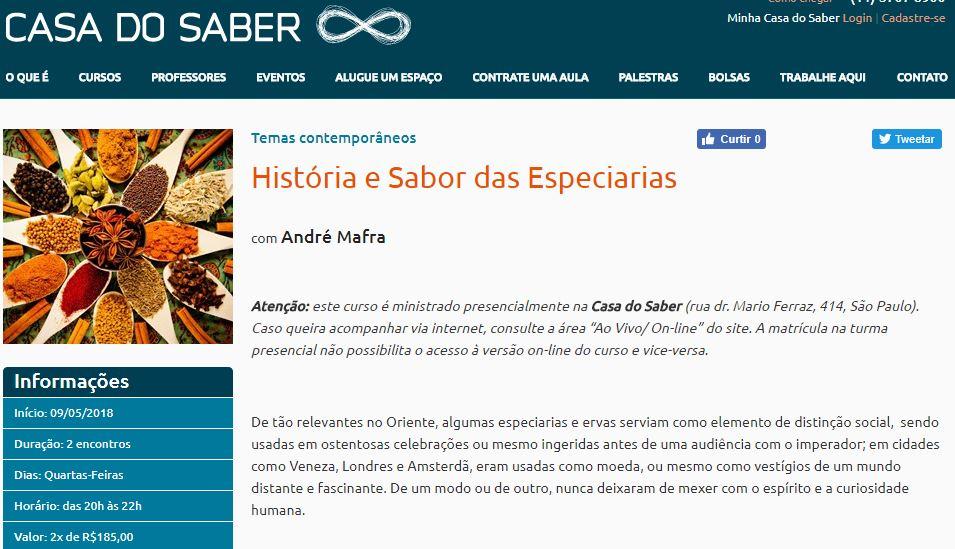 Curso História e Sabor das Especiarias na Casa do Saber em maio de 2018