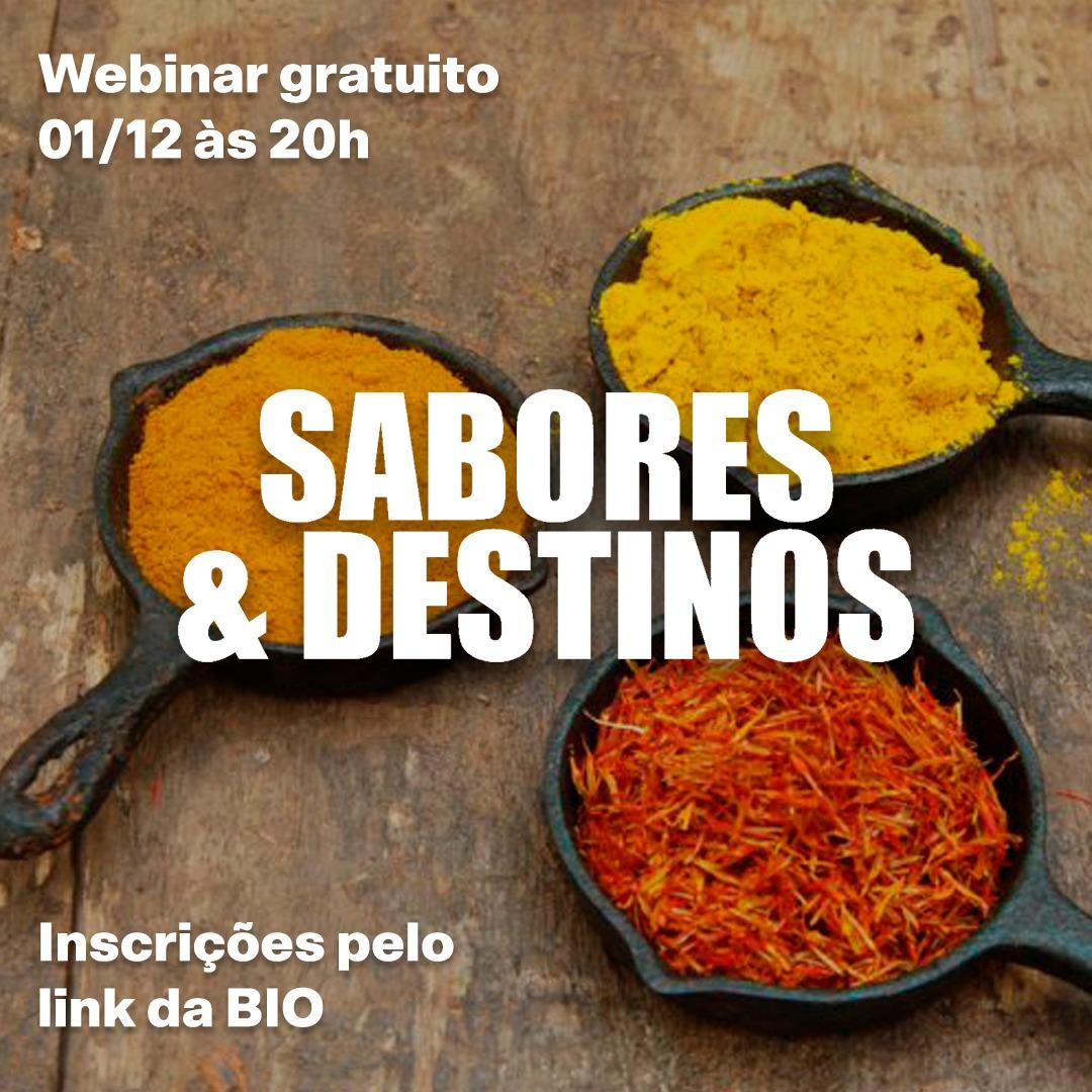 Venha assistir o webinar de lançamento do meu livro Sabores&Destinos
