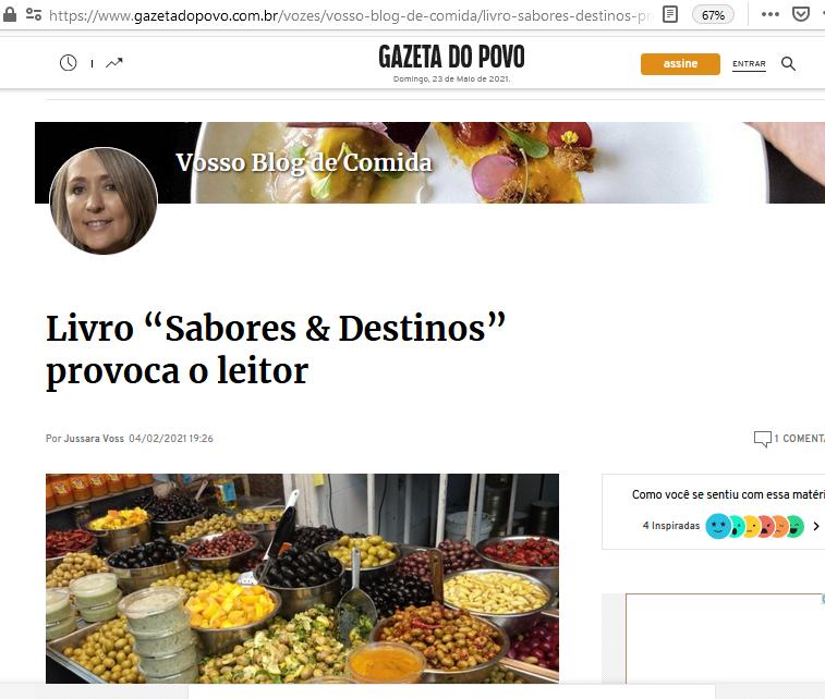 Sabores & Destinos no Vosso blog de Comida por Jussara Voss